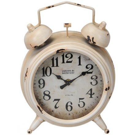 Alarm Inspired Cream Metal Clock