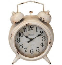 Bring a rustic charm to any interior with this large metal clock with an added Alarm Clock inspired decal