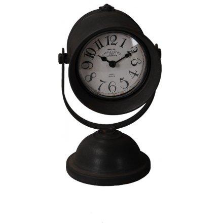 Rustic Black Metal Clock On Stand