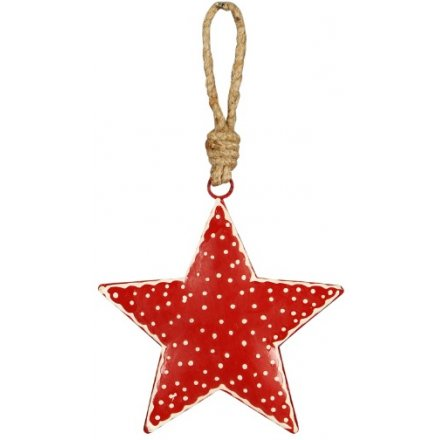 Red Nordic Hanging Star, 10cm