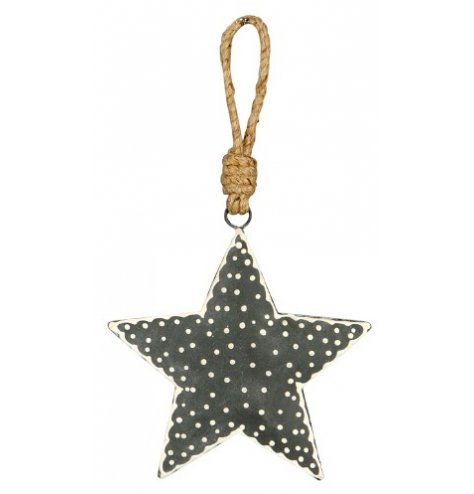 A shabby chic grey and white polkadot Christmas star with a chunky jute string hanger.