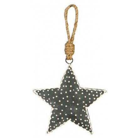 Grey Nordic Hanging Star, 10cm