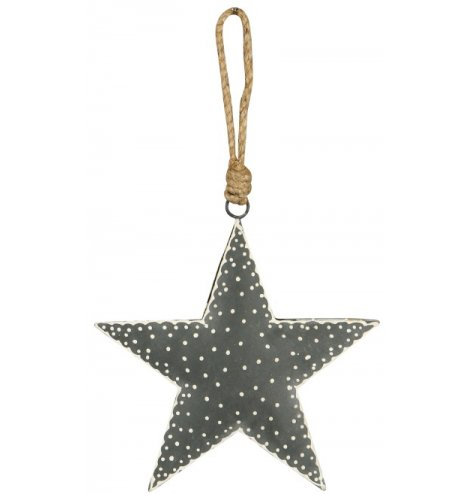A rustic grey and white polka dot Christmas star decoration. Complete with chunky jute rope hanger.
