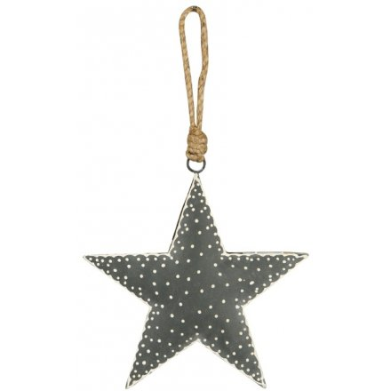 Grey Nordic Hanging Star, 15cm