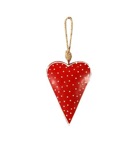 A shabby chic metal heart Christmas decoration with a chunky jute rope hanger.