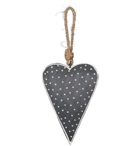A shabby chic metal heart decoration with a grey and white dotty finish and chunky rope hanger.