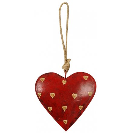 Distressed Red Hanging Heart, 12cm