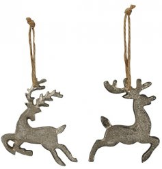 A mix of 2 posed hanging metal reindeer decorations in a rustic silver tone