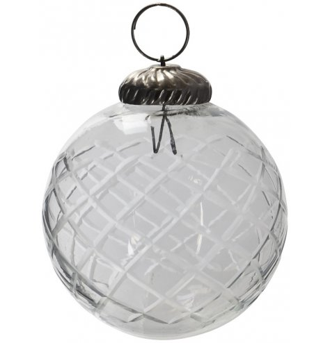 A fine quality, vintage inspired glass bauble with an aged silver decorative cap to hang.