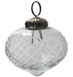 this glass bauble will be sure to add an elegant touch to any tree display at Christmas
