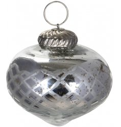 A gorgeously vintage themed glass bauble featuring a subtle pattern decal and mottled silver coating