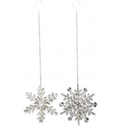 A dazzlingly elegant mix of hanging snowflake decorations, assorted by their silver sequin and diamonte features