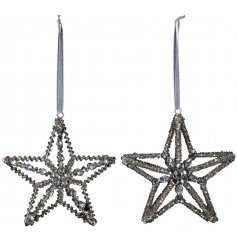 A dazzlingly elegant mix of hanging star decorations, assorted by their silver sequin and diamonte features