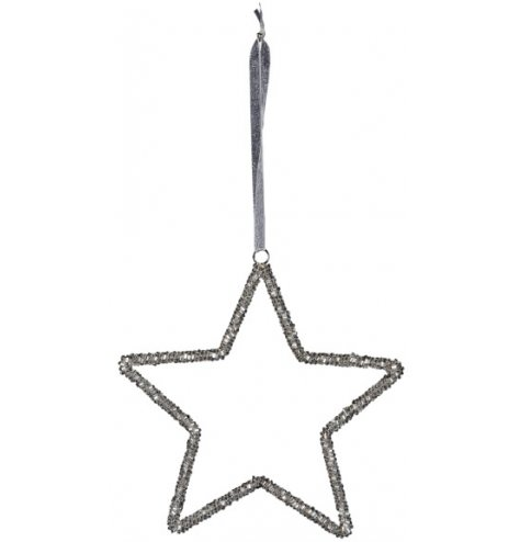 A chic beaded five point star decoration with a plush grey hanger.