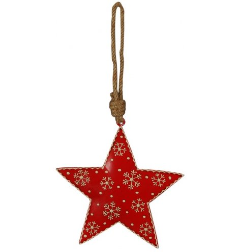 A scandi-chic star shaped Christmas decoration with a rustic finish. Complete with a chunky rope hanger and snowflakes