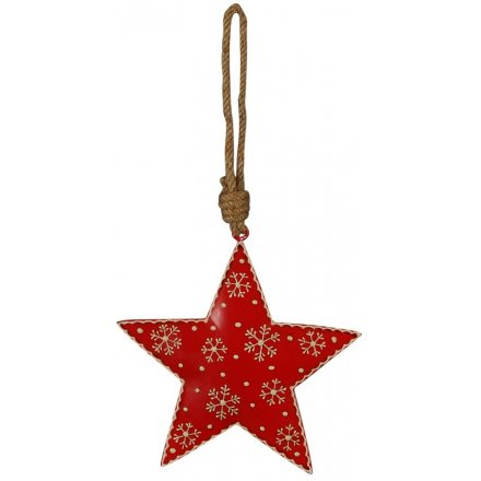 Snowflake Red Star, 11cm