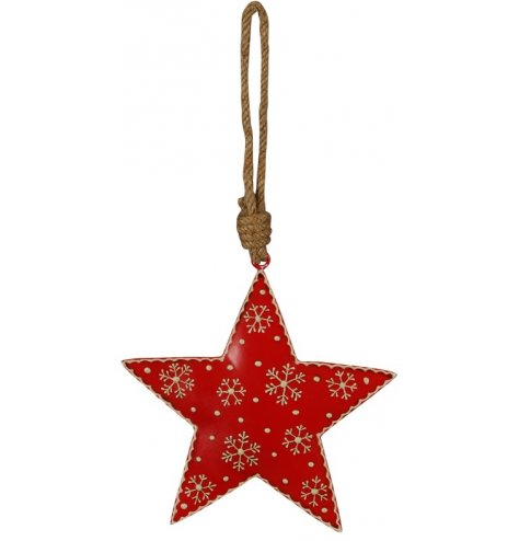 A scandi-chic star shaped Christmas decoration with a snowflake and polkadot design. Complete with chunky rope hanger.