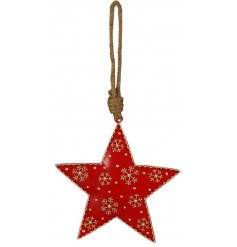 A charming little festive red toned metal star hanging decoration, set with added white rustic snowflake decals