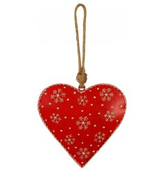 A charming little festive red toned metal heart hanging decoration, set with added white rustic snowflake decals