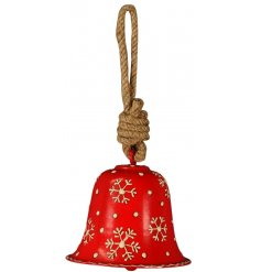 A charming little festive red toned metal bell hanging decoration, set with added white rustic snowflake decals