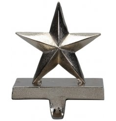 A stylish decorative metal star table hook with an added rustic silver tone