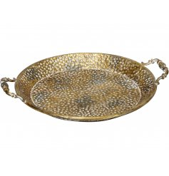 this round serving tray with added carry handles will be sure to place perfectly in any home space