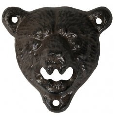 A handy little cast iron bear head with an added open mouth bottle opener feature