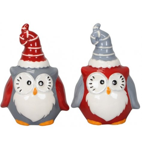 Grey and red assorted Christmas owl decorations with quirky hats and wide eyed faces.