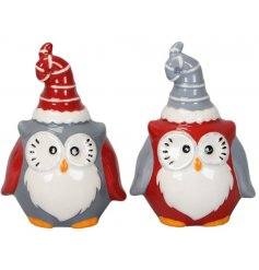 A cute mix of festive themed sitting ceramic owl decorations