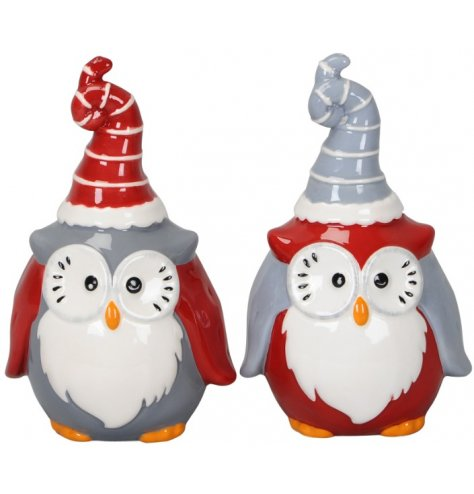 Cute and quirky wide eyed Christmas owl decorations with curled hats  in red and grey colour assortments.