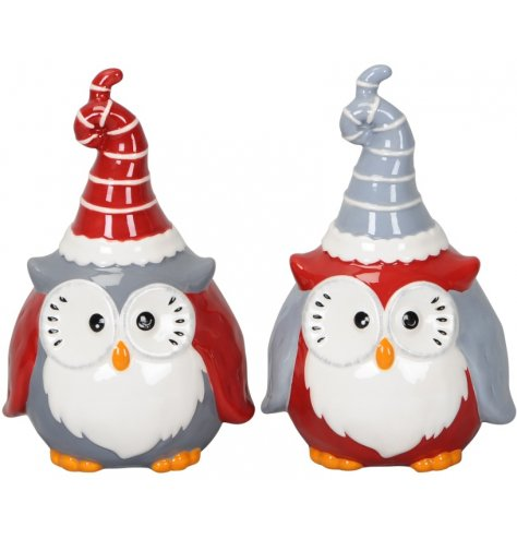 Christmas owl ornaments with cute and quirky faces and curled up Santa hats. The assortment includes grey and red design