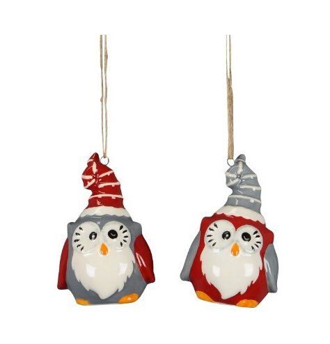 Cute and quirky Christmas owl decorations in red and grey designs. Complete with Santa hats and jute string hangers.