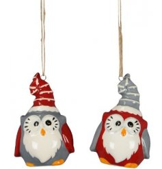 A cute mix of festive themed hanging ceramic owl decorations