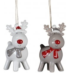 Bring a cute touch to any Woodland Charm display with this sweet assortment of standing ceramic reindeer