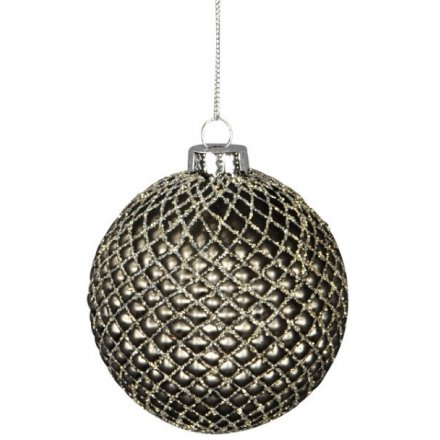 Acorn Ridge Grey Glass Bauble