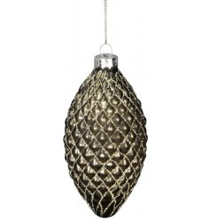 this gorgeously elegant glass bauble will be sure to add compliments to any Tree display at Christmas
