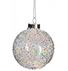 A beautifully simple clear glass bauble with added ridged specks and an added iridescent coating
