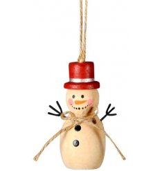 A natural toned hanging wooden snowman perfectly topped with a festive red hat