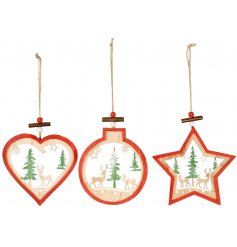 A charming assortment of hanging wooden tree decorations, set with a festive red rim tone and added woodland scene centr