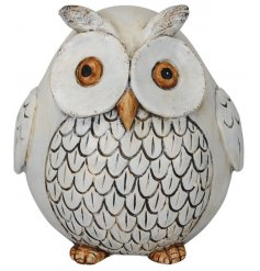 A shabby chic style owl ornament with a cream, rustic finish. A charming accessory for the home and garden.