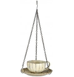 A decorative hanging Teacup decoration, A perfect accessory for any garden space
