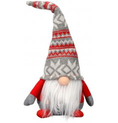 A fun and festive themed sitting fabric gonk featuring a tall pointed knitted hat in a red and grey tone