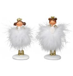 A sweet assortment of resin angels perfectly set with golden accents and fluffy white feather tutus