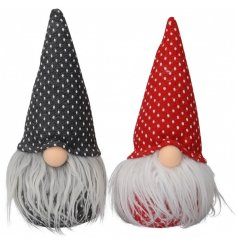 A cute mix of sitting fabric gonk decorations set in red and grey tones