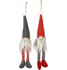 A cute mix of hanging fabric gonk decorations set in red and grey tones