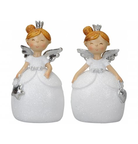 Adorable angel figurines with glitter dresses and silver bows. Each has a shining silver crown and wings with charm