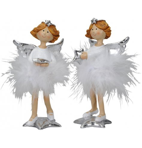 Unique angel figurines stood upon shiny silver stars. Each has a fluffy white skirt, star tiara and ballet shoes.