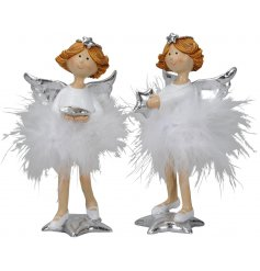 A sweet assortment of resin fairy figures dressed up in snowball inspired feathery skirts