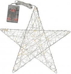 A silver toned star hanging decoration with an added woven LED string light decal