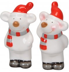 Bring a sweet little mousey touch to your home decor at Christmas with this mix of posed ceramic mice decorations